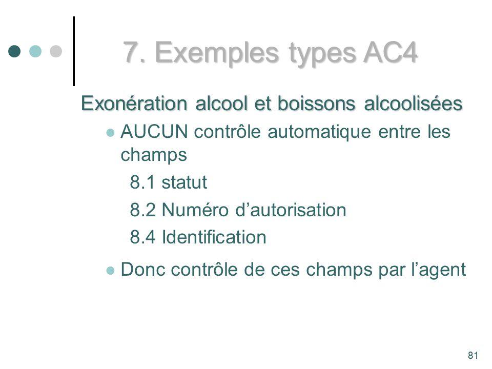 7. Exemples types AC4 Exonération alcool et boissons alcoolisées