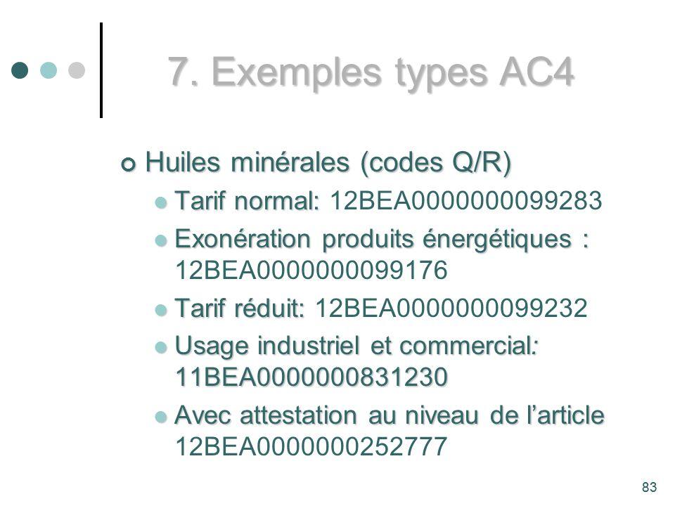 7. Exemples types AC4 Huiles minérales (codes Q/R)