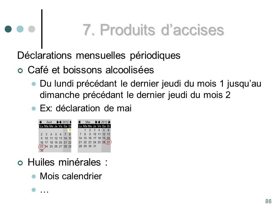 7. Produits d'accises Déclarations mensuelles périodiques