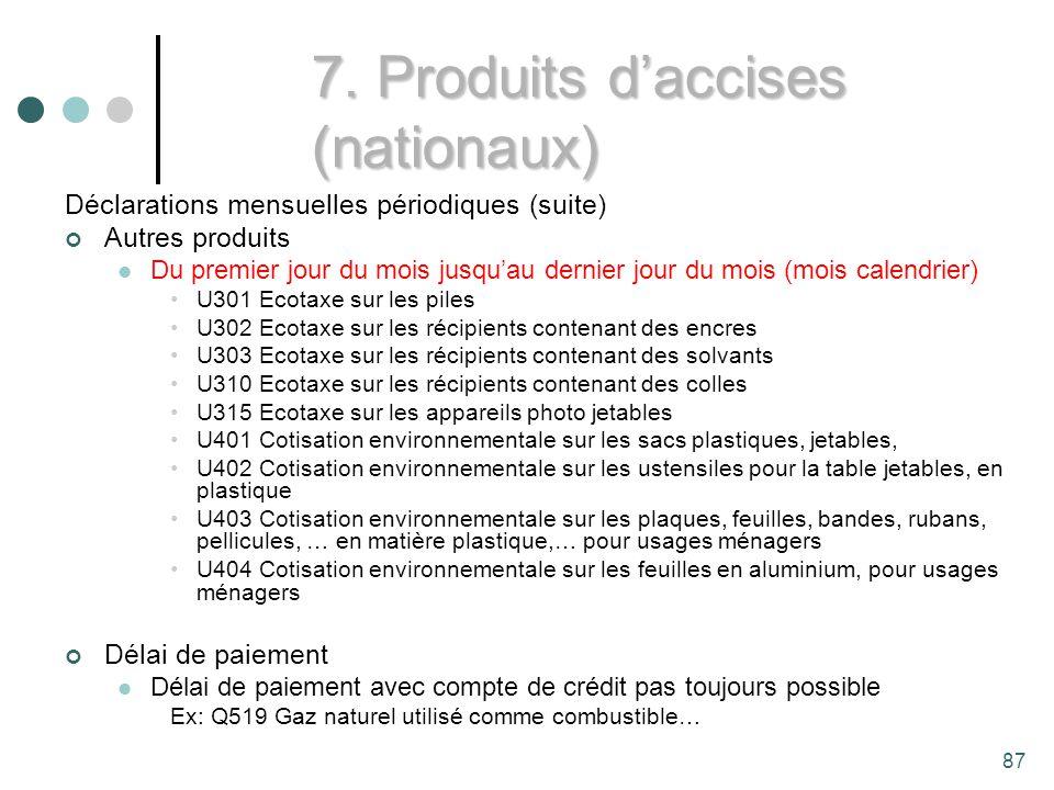 7. Produits d'accises (nationaux)