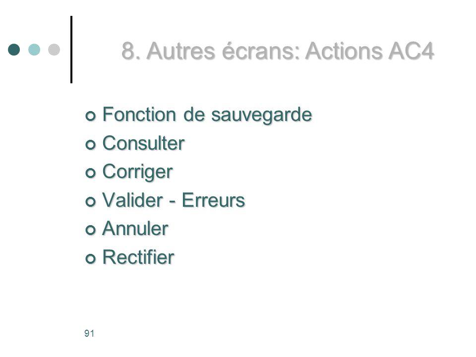 8. Autres écrans: Actions AC4