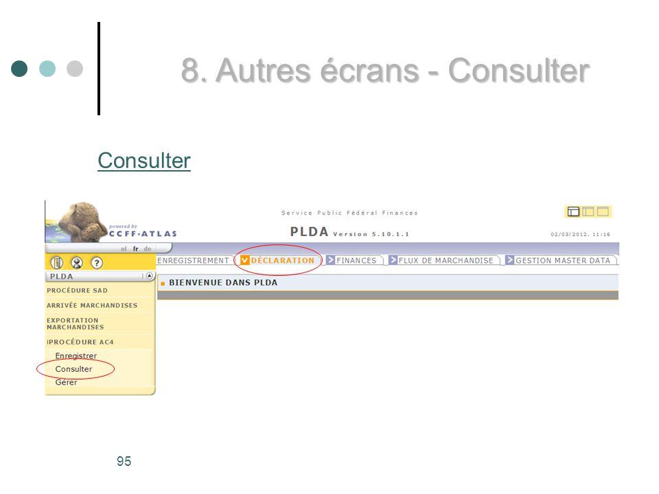 8. Autres écrans - Consulter