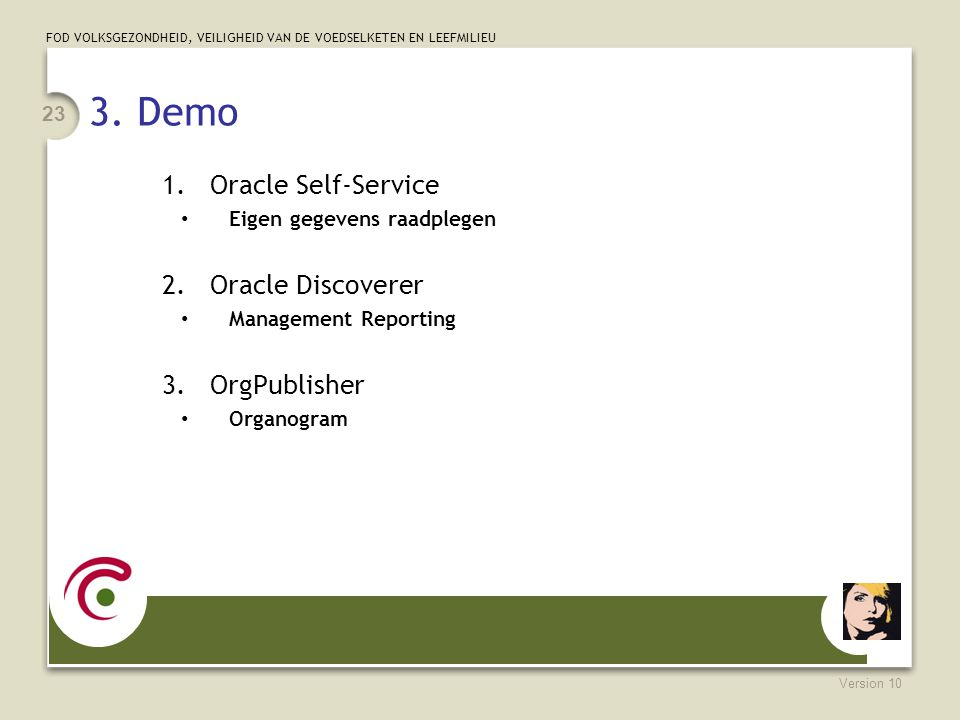 3. Demo Oracle Self-Service Oracle Discoverer OrgPublisher