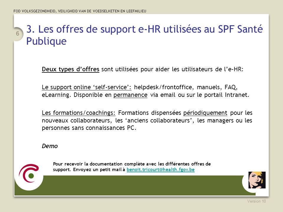 3. Les offres de support e-HR utilisées au SPF Santé Publique