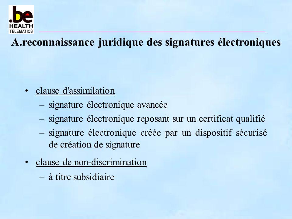 A.reconnaissance juridique des signatures électroniques