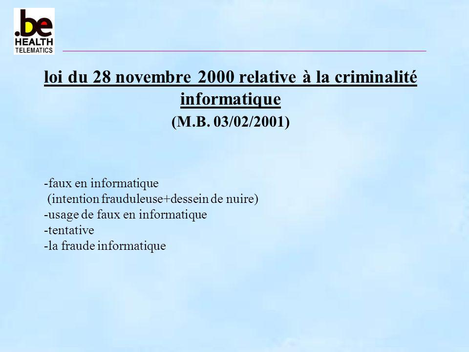 loi du 28 novembre 2000 relative à la criminalité informatique (M. B
