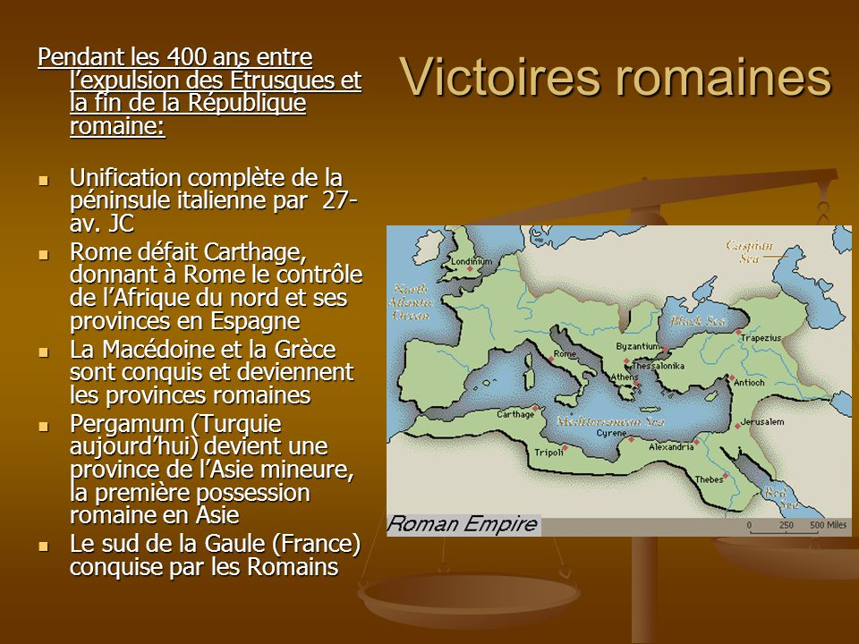 Victoires romaines Pendant les 400 ans entre l'expulsion des Étrusques et la fin de la République romaine: