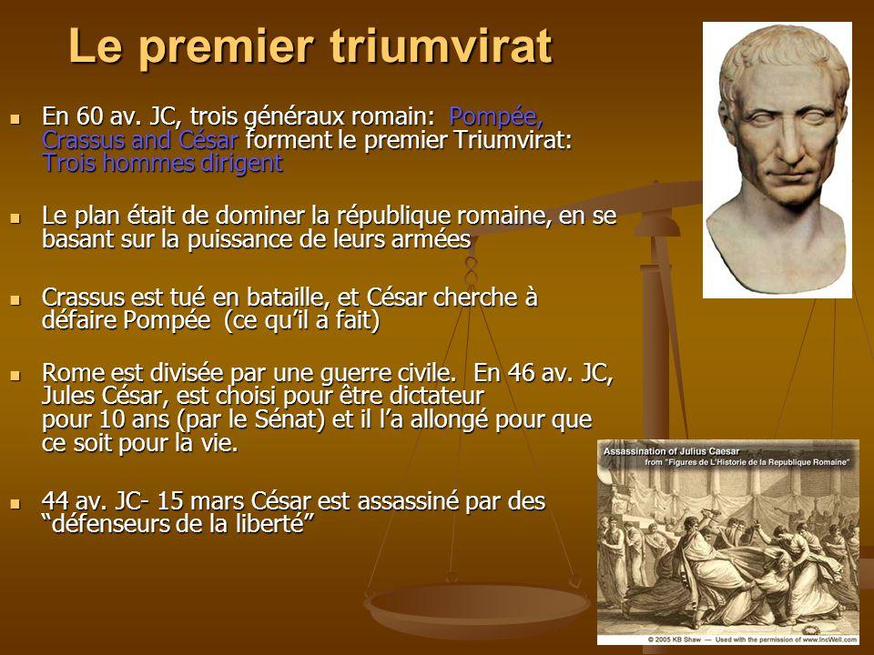 Le premier triumvirat En 60 av. JC, trois généraux romain: Pompée, Crassus and César forment le premier Triumvirat: Trois hommes dirigent.