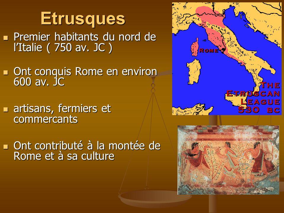 Etrusques Premier habitants du nord de l'Italie ( 750 av. JC )