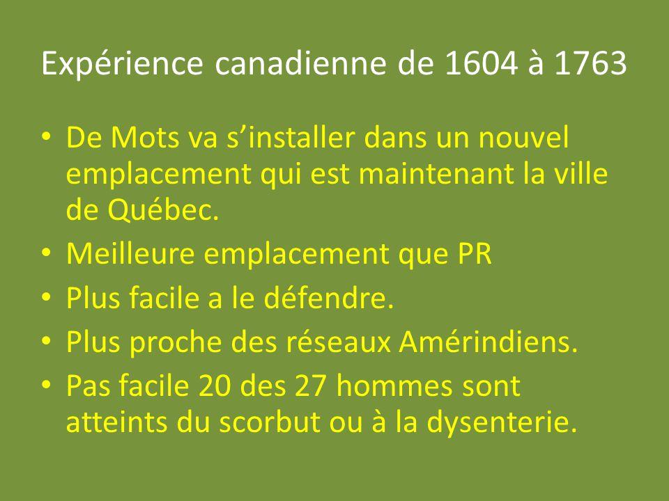 Expérience canadienne de 1604 à 1763