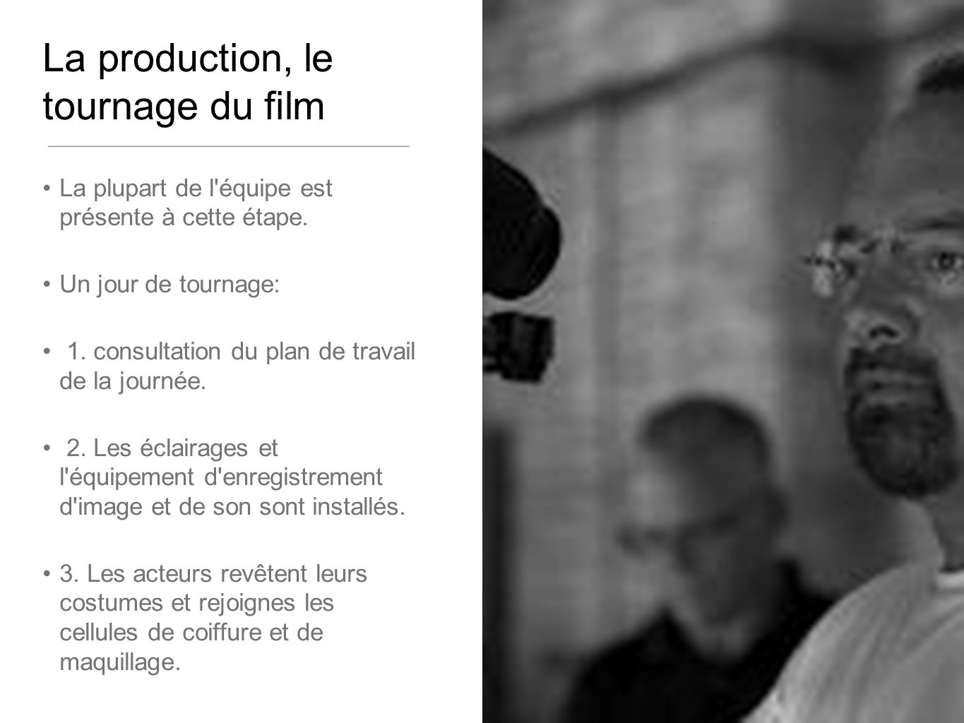 La production, le tournage du film