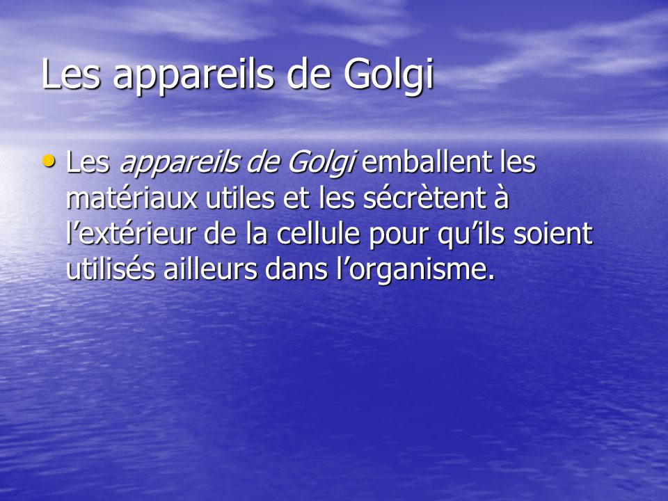 Les appareils de Golgi