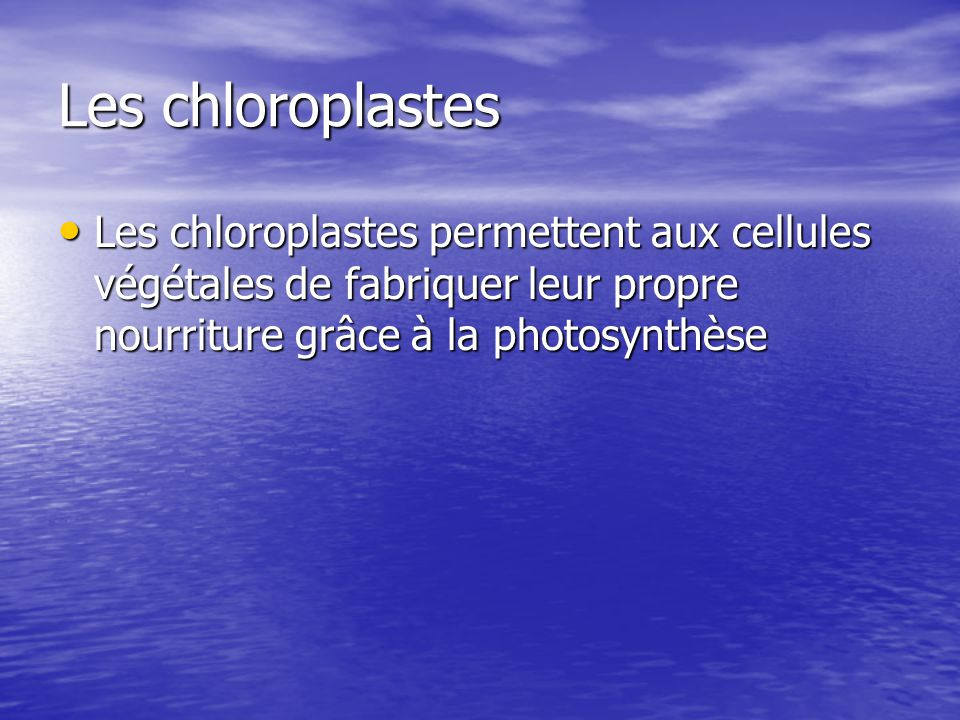 Les chloroplastes Les chloroplastes permettent aux cellules végétales de fabriquer leur propre nourriture grâce à la photosynthèse.