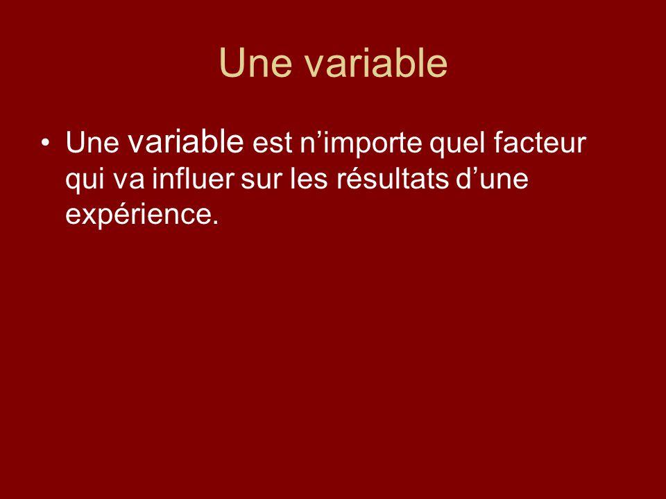 Sciences de la nature 9 Une variable. Une variable est n'importe quel facteur qui va influer sur les résultats d'une expérience.