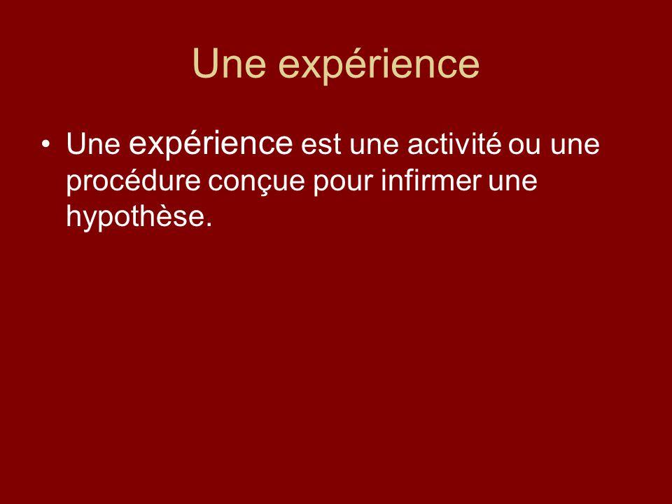 Une expérience Une expérience est une activité ou une procédure conçue pour infirmer une hypothèse.