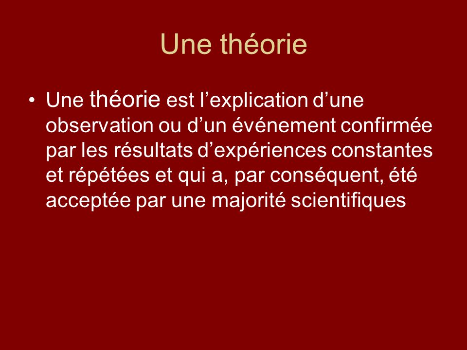 Une théorie