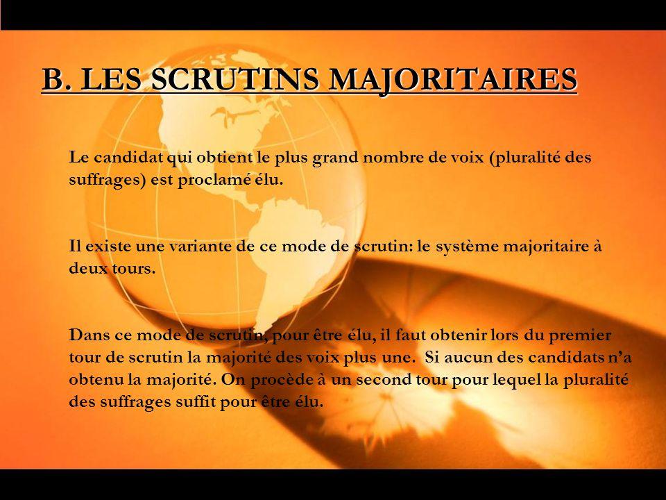B. LES SCRUTINS MAJORITAIRES