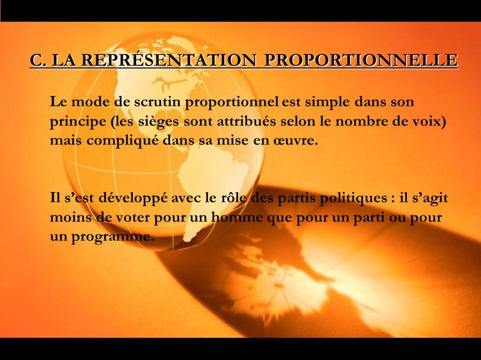 C. LA REPRÉSENTATION PROPORTIONNELLE