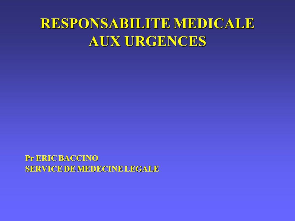 RESPONSABILITE MEDICALE AUX URGENCES