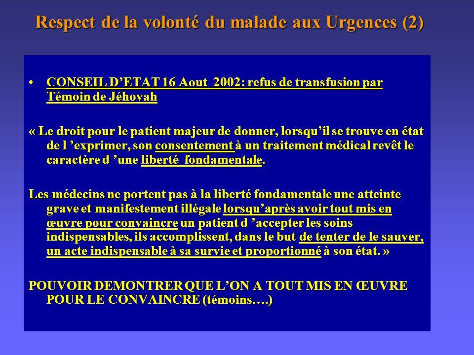 Respect de la volonté du malade aux Urgences (2)