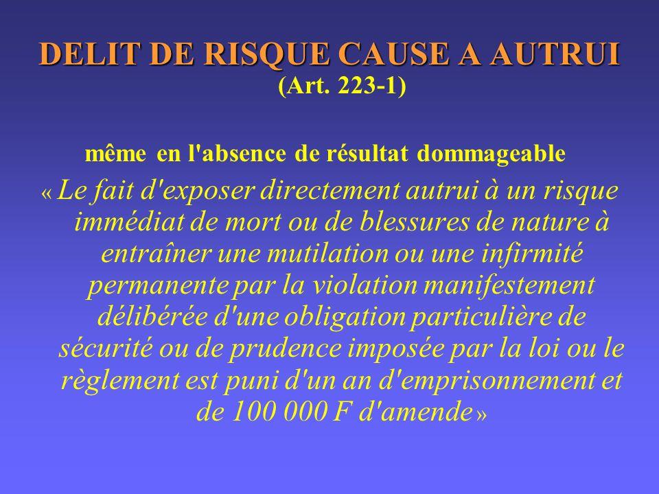 DELIT DE RISQUE CAUSE A AUTRUI (Art. 223-1)