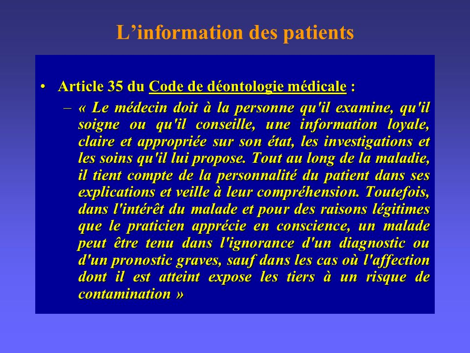 L'information des patients