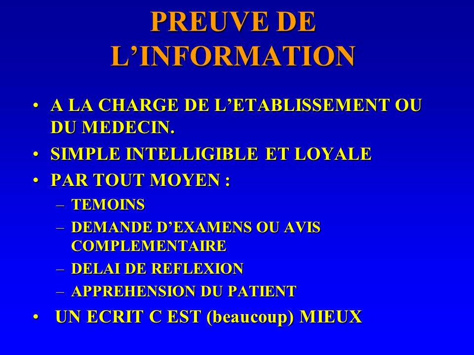 PREUVE DE L'INFORMATION