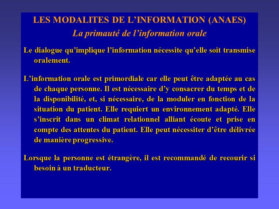 LES MODALITES DE L'INFORMATION (ANAES)