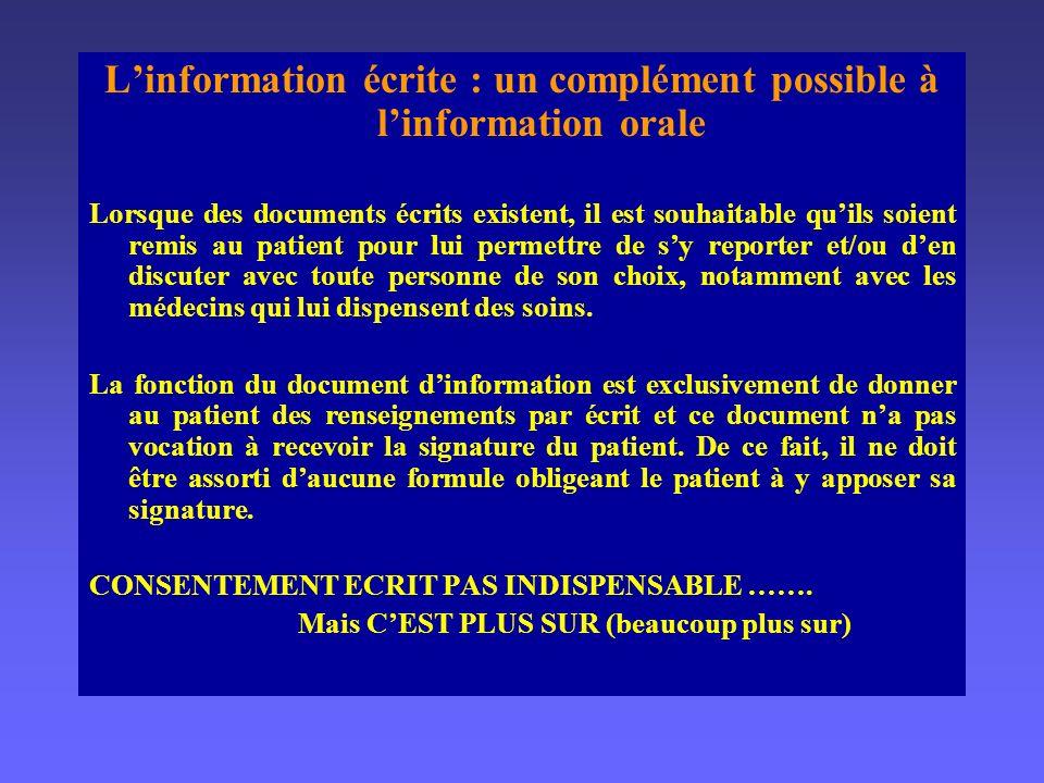 L'information écrite : un complément possible à l'information orale
