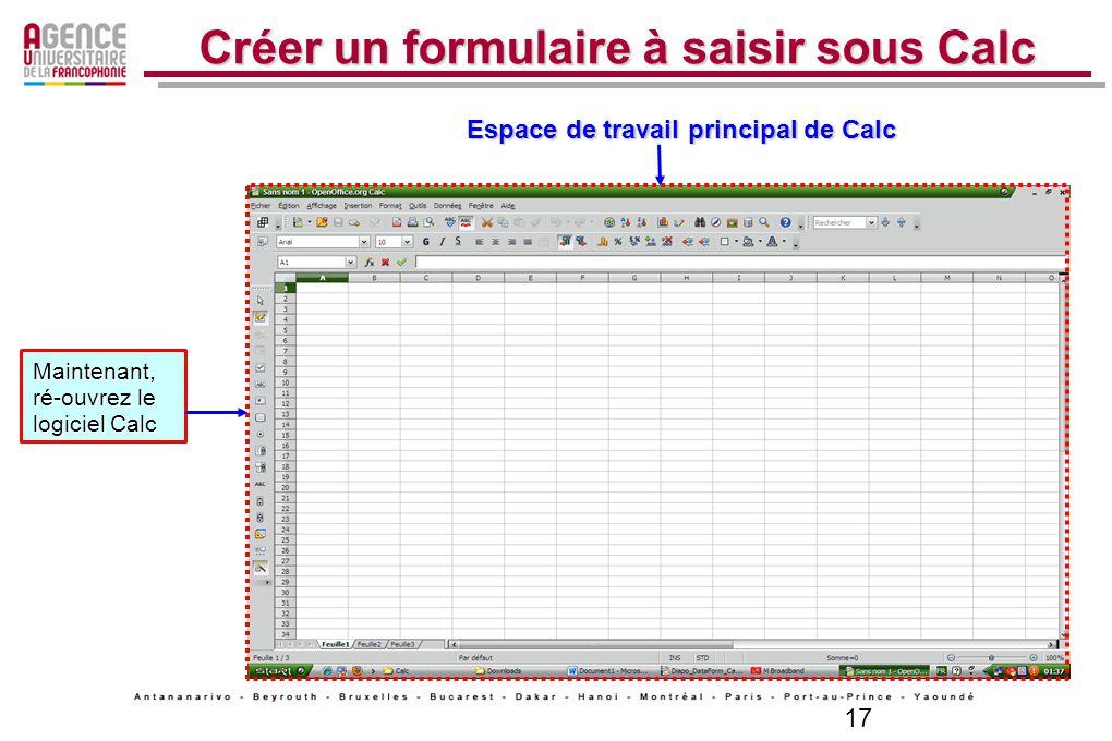 Créer un formulaire à saisir sous Calc