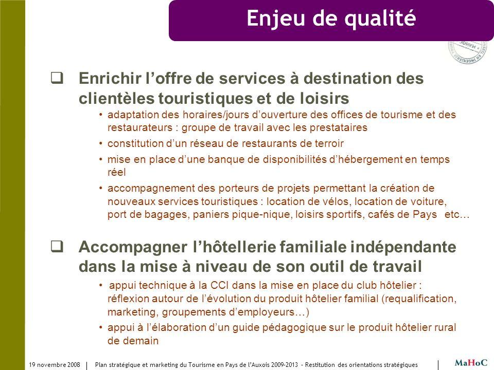 Enjeu de qualité Enrichir l'offre de services à destination des clientèles touristiques et de loisirs.