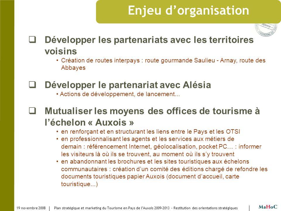 Enjeu d'organisation Développer les partenariats avec les territoires voisins.