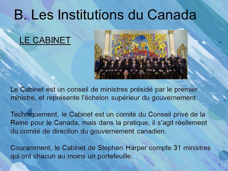 B. Les Institutions du Canada