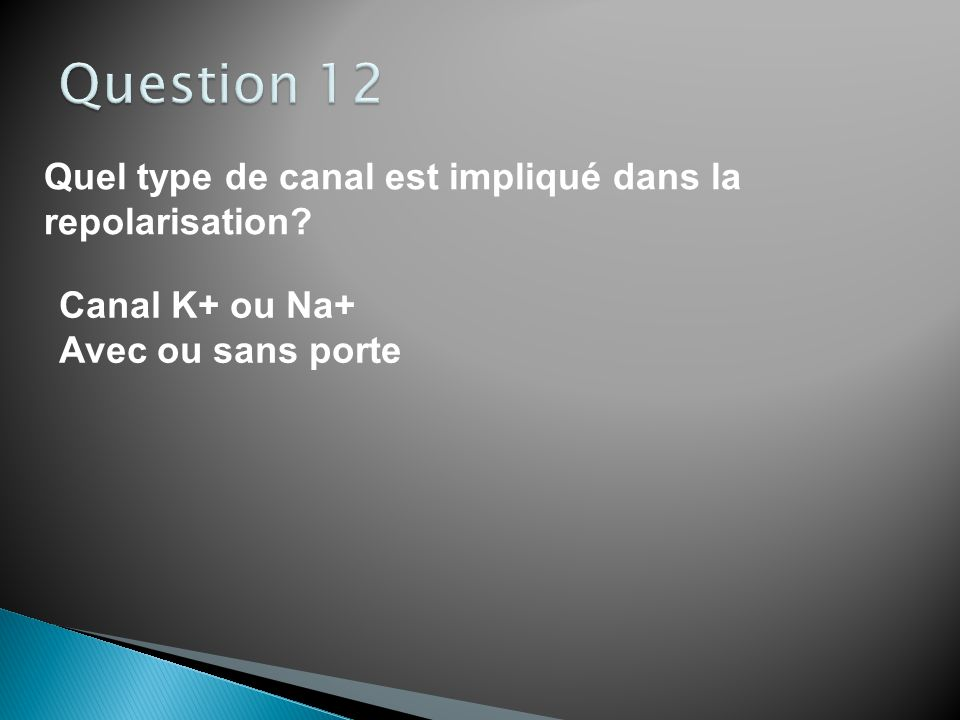 Question 12 Quel type de canal est impliqué dans la repolarisation