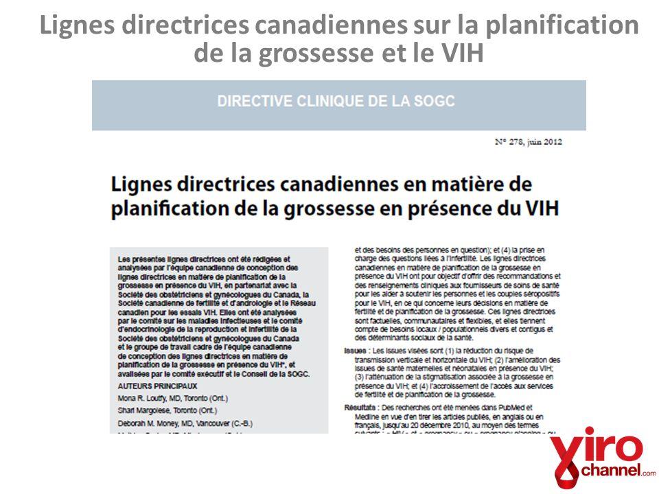 Lignes directrices canadiennes sur la planification de la grossesse et le VIH