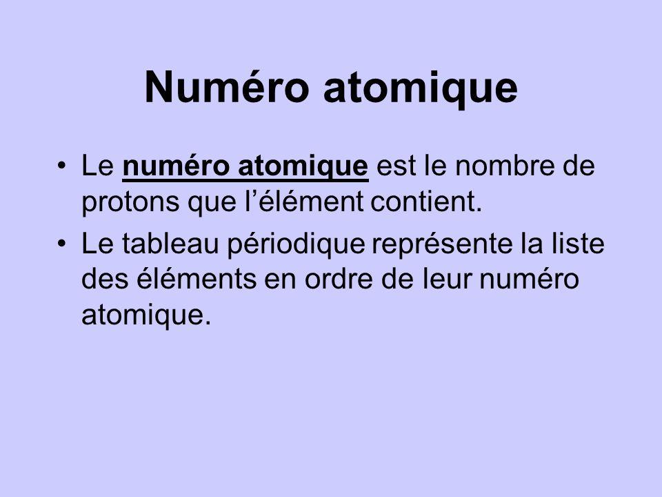 Numéro atomique Le numéro atomique est le nombre de protons que l'élément contient.