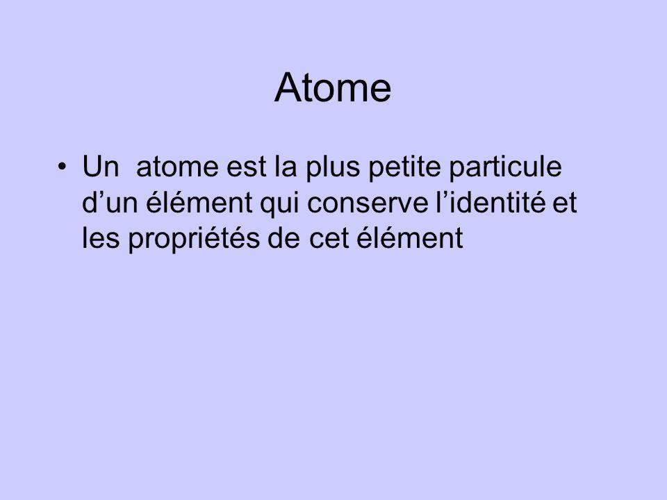 Atome Un atome est la plus petite particule d'un élément qui conserve l'identité et les propriétés de cet élément.