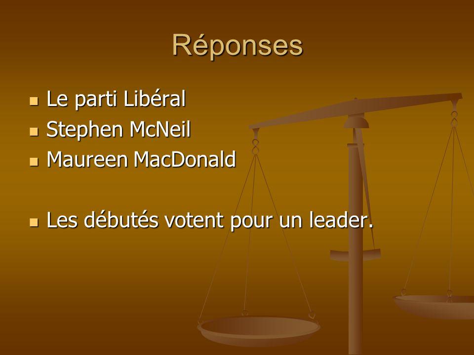 Réponses Le parti Libéral Stephen McNeil Maureen MacDonald