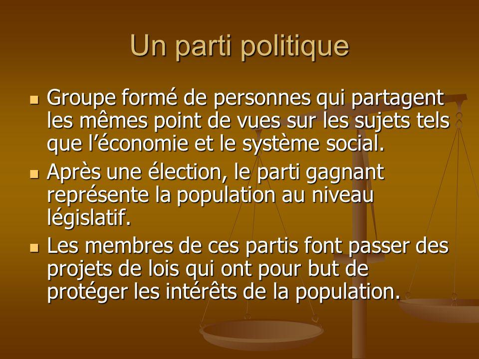 Un parti politique Groupe formé de personnes qui partagent les mêmes point de vues sur les sujets tels que l'économie et le système social.
