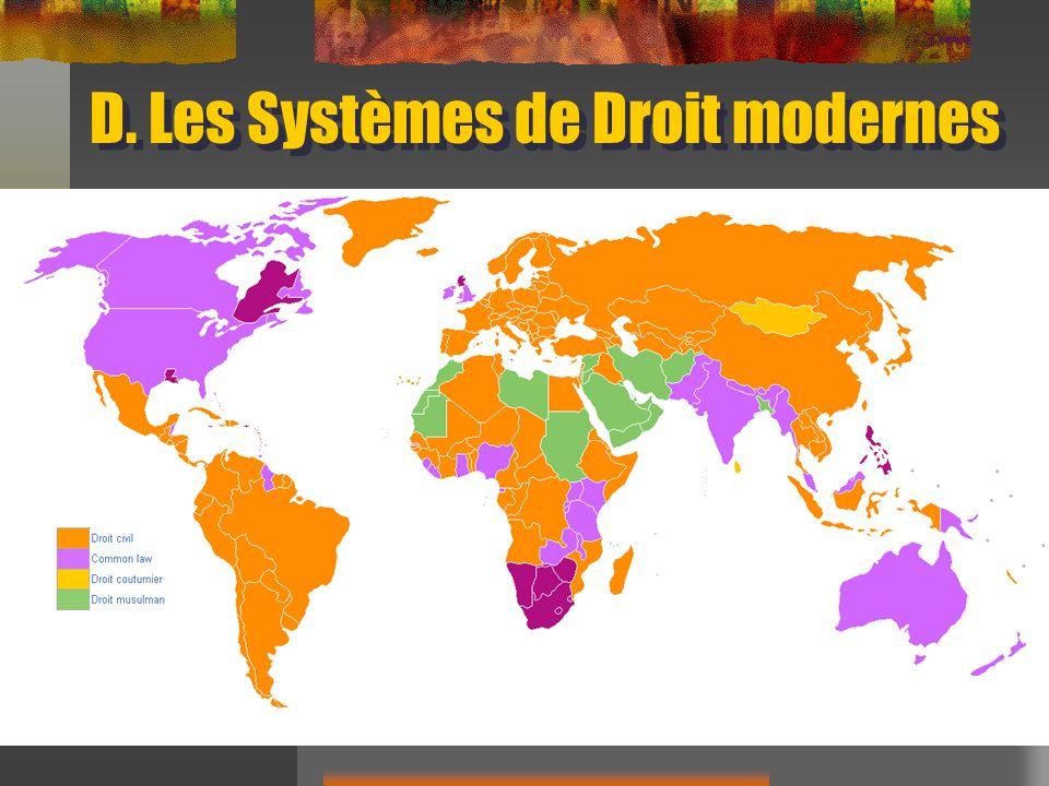 D. Les Systèmes de Droit modernes