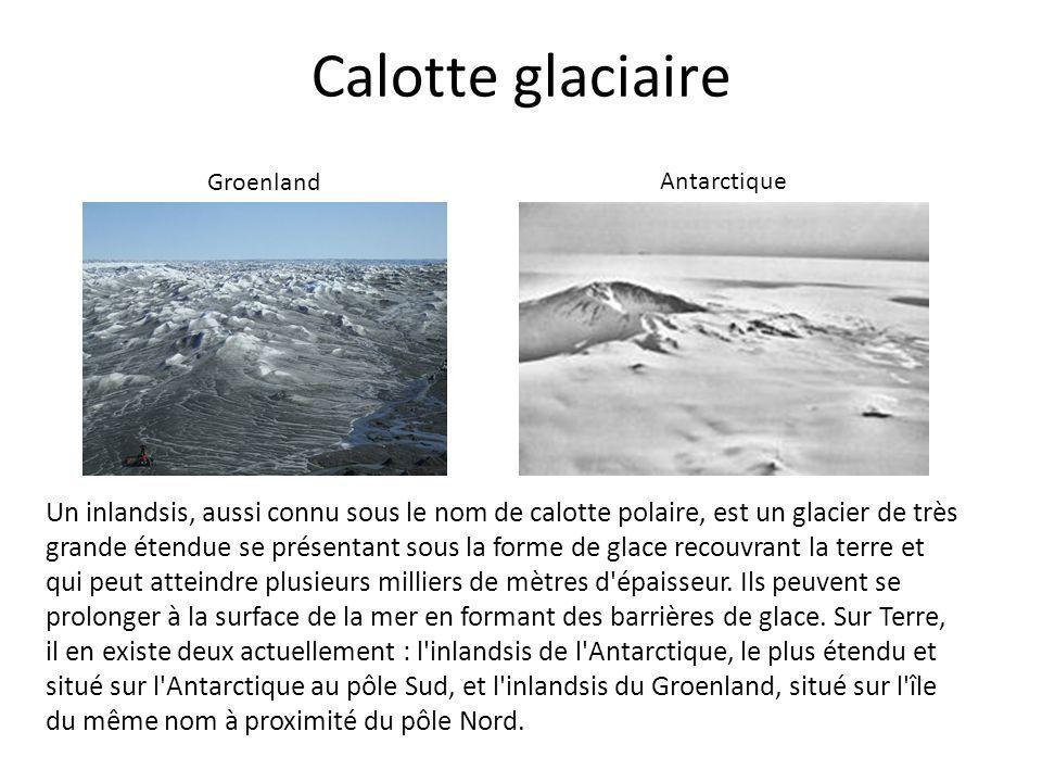 Calotte glaciaire Groenland. Antarctique.