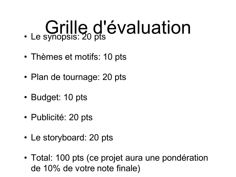 Grille d évaluation Le synopsis: 20 pts Thèmes et motifs: 10 pts