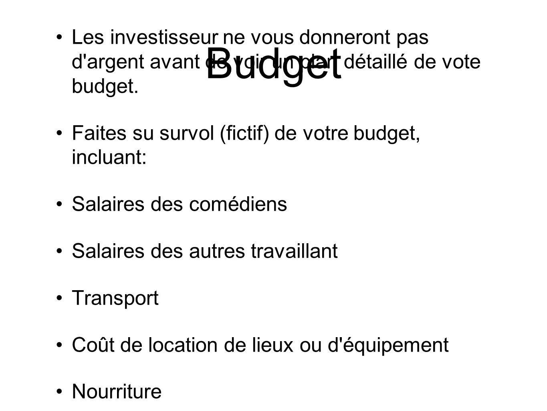 Budget Les investisseur ne vous donneront pas d argent avant de voir un plan détaillé de vote budget.