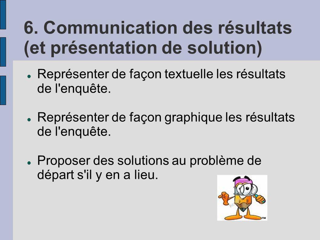 6. Communication des résultats (et présentation de solution)