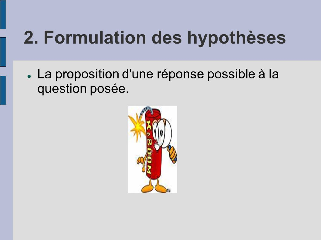 2. Formulation des hypothèses