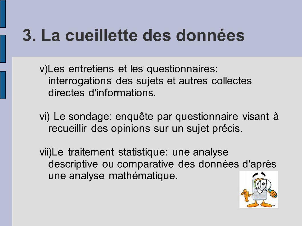 3. La cueillette des données