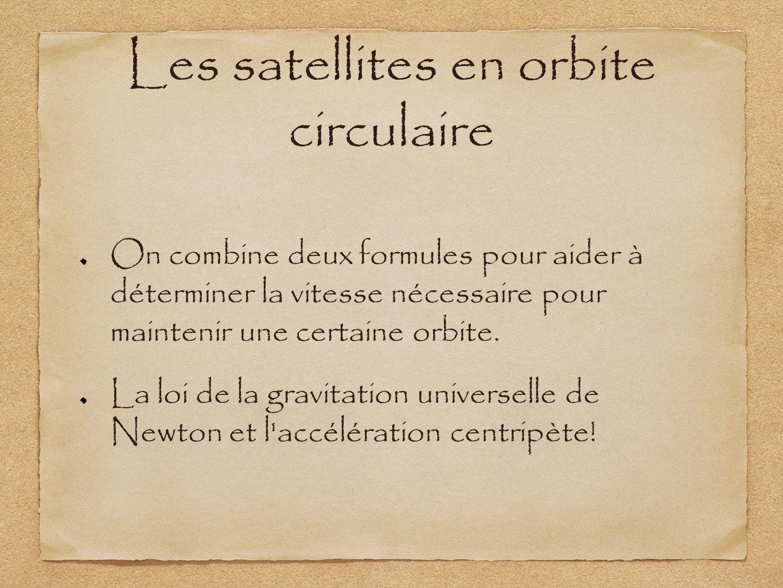 Les satellites en orbite circulaire