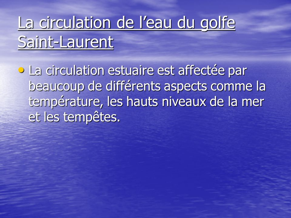 La circulation de l'eau du golfe Saint-Laurent