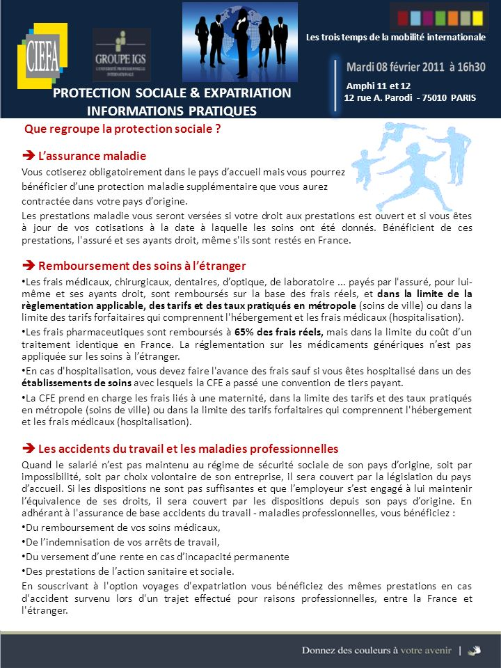 PROTECTION SOCIALE & EXPATRIATION INFORMATIONS PRATIQUES