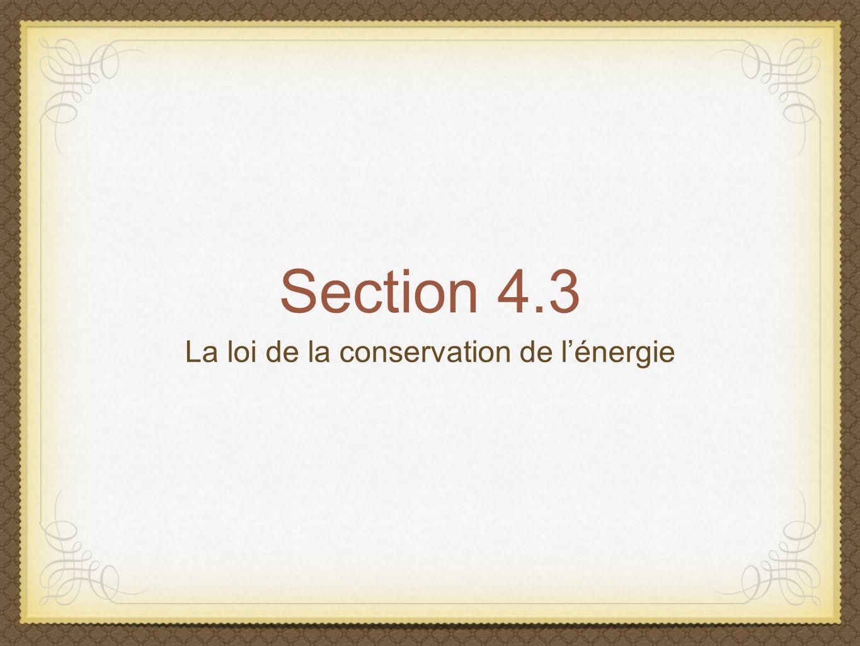 La loi de la conservation de l'énergie